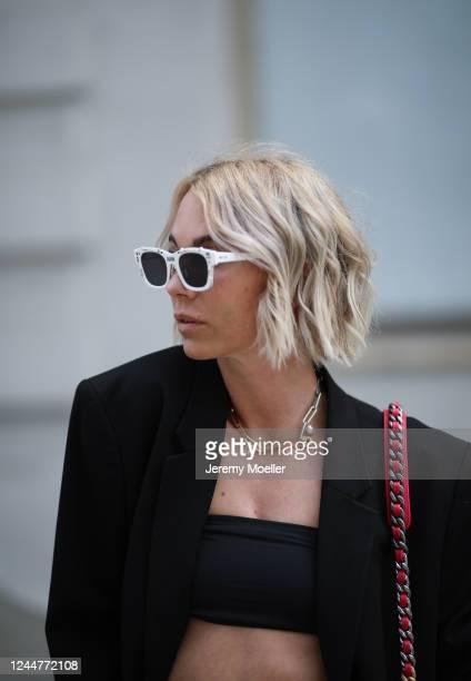 Karin Teigl wearing Zara blazer, Skims bra and Dior shades on May 31, 2020 in Augsburg, Germany.
