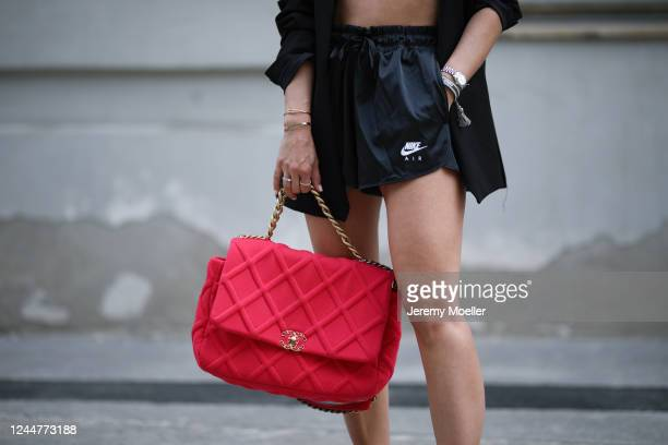 Karin Teigl wearing Zara blazer, Skims bra, Nike short and Chanel bag on May 31, 2020 in Augsburg, Germany.