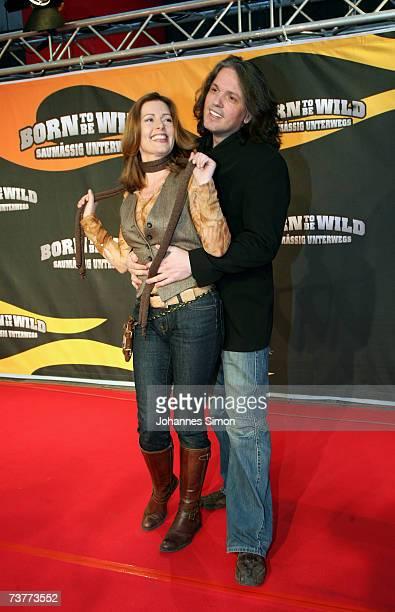Karin Thaler and boyfriend Milos Malesevic attend the German film premiere of Born to be wild saumaessig unterwegs on April 2 2007 in Munich Germany