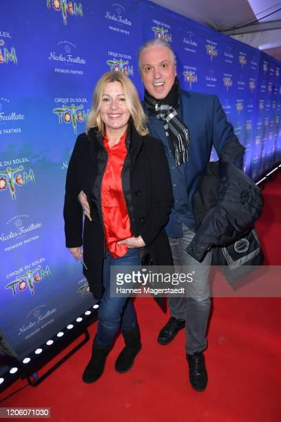Karin Thaler and her husband Milos Malesevic attend the premiere of Totem by Cirque du Soleil at Theresienwiese on February 13 2020 in Munich Germany