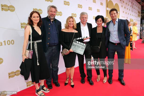Karin Thaler Marisa Burger and Igor Jeftic and the cast of Rosenheim Cops during the Bavaria Film Reception One Hundred Years in Motion on the...