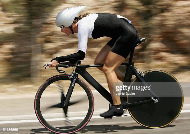 Karin Thuerig of Switzerland competes in the women's road cycling individual time trial on August 18, 2004 during the Athens 2004 Summer Olympic...