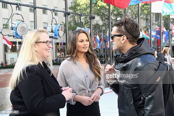 Karin Timpone Chrissy Teigen and Casey Neistat attend as Marriott International celebrates Global Travel Day at Rockefeller Center in NYC on October...