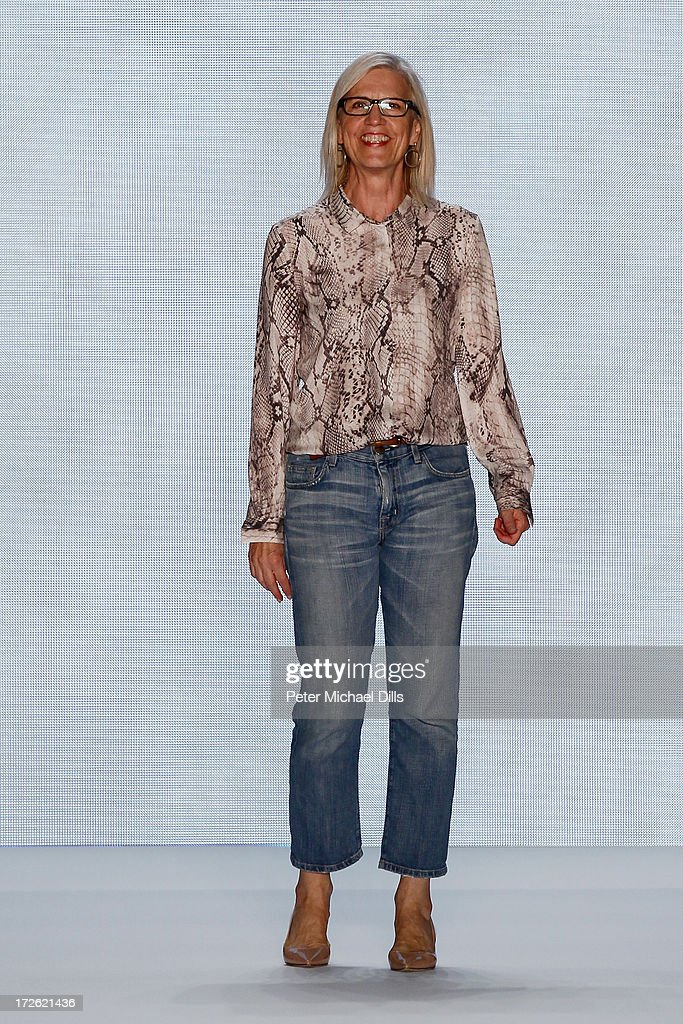 Karin Veit walks the runway at the end of the Marc Cain Show during the Mercedes-Benz Fashion Week Spring/Summer 2014 at Brandenburg Gate on July 4, 2013 in Berlin, Germany.