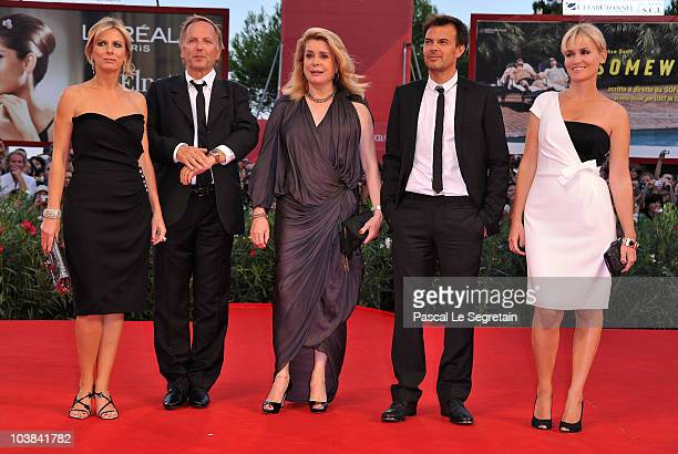 Karin Viard Fabrice Luchini Catherine Deneuve Francois Ozon and Judith Godreche attend the 'Potiche'' premiere at the Sala Grande Palazzo Del Cinema...
