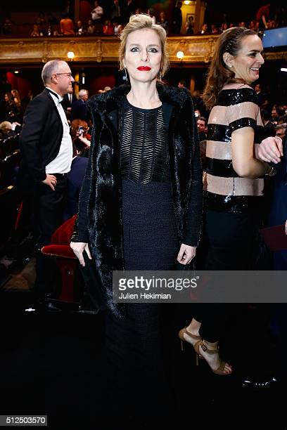 Karin Viard poses during The Cesar Film Award 2016 at Theatre du Chatelet on February 26, 2016 in Paris, France.