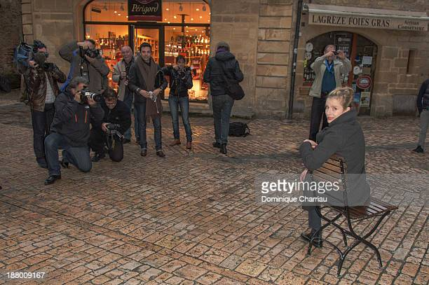Karin Viard poses for the 'Lulu Felle Nue' photocall during the 22rd Sarlat Film Festival on November 14 2013 in SarlatlaCaneda France