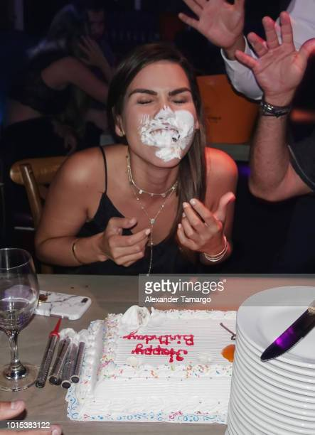 Karina Banda is seen at her surprise birthday celebration at Barsecco on August 10 2018 in Miami Florida