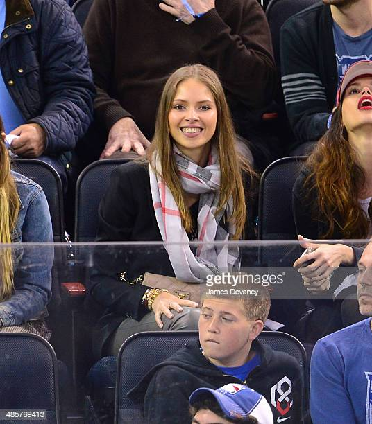 Karina Bartkevica attends the Philadelphia Flyers vs New York Rangers playoff game at Madison Square Garden on April 20 2014 in New York City