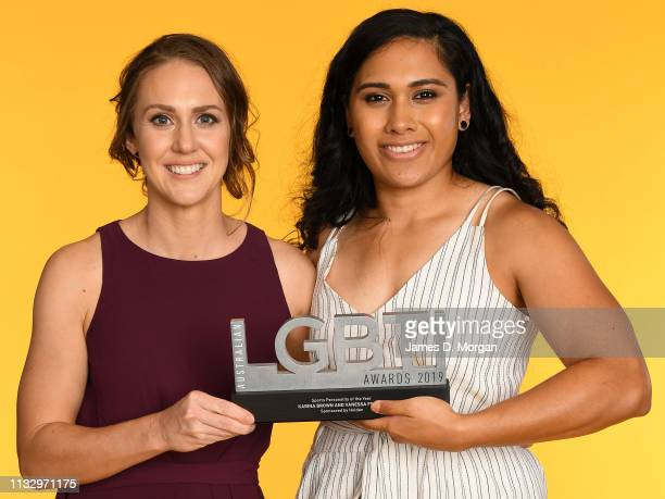 Karina Brown and Vanessa Foliaki pose with the Sports Personality of the Year award at the 2019 Australian LGBTI Awards at The Star on March 01 2019...