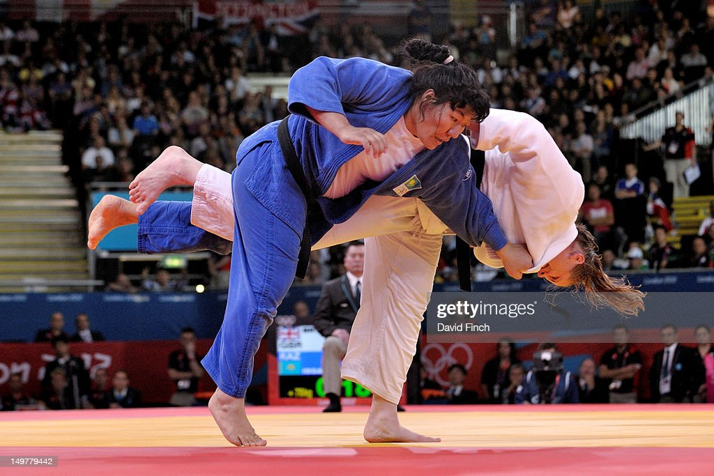 Karina Bryant of Great Britain (white) competes against Gulzhan Issanova of Kazakstan on her way to a bronze medal in the Women's +78 kg Judo on Day 7 of the London 2012 Olympic Games at ExCeL on August 3, 2012 in London, England.