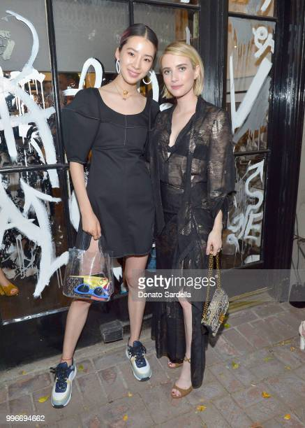 Karina Cha and Emma Roberts attend Beats by Dre for VIOLET GREY Party on July 11 2018 in Los Angeles California