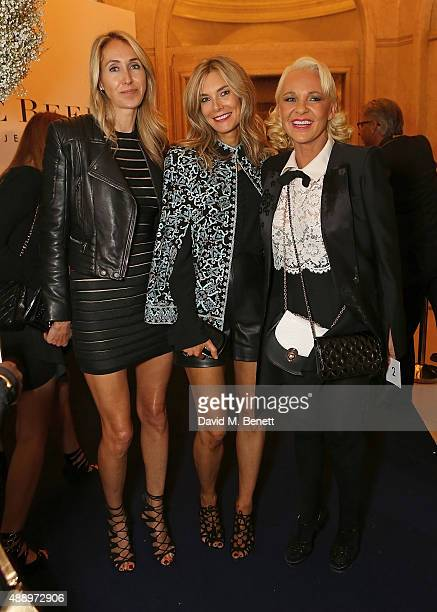 Karina de Brabant Kim Hersov and Amanda Eliasch attend De Beer's Moments in Light at Claridge's Hotel on September 18 2015 in London England