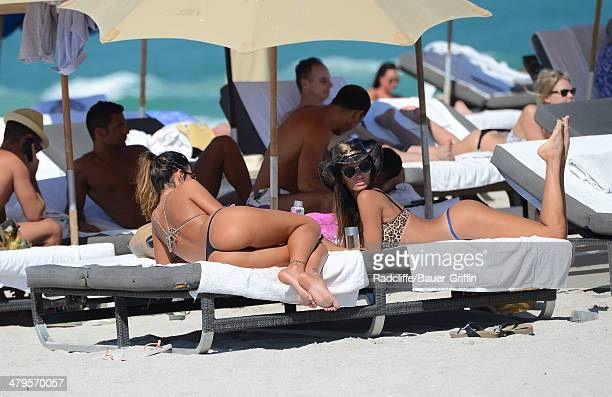 Karina Jelinek is seen at the beach with Paz Cornu on March 19 2014 in Miami Florida