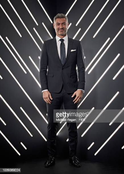 Karina LeBlanc and guests are pictured inside the photo booth prior to The Best FIFA Football Awards at Royal Festival Hall on September 24 2018 in...