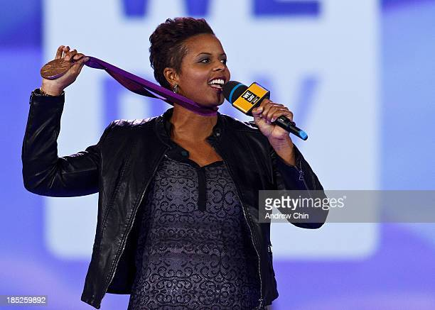 Karina LeBlanc speaking on We Day at Rogers Arena on October 18 2013 in Vancouver Canada