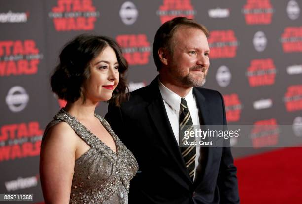 Karina Longworth and Writer/Director Rian Johnson at the world premiere of Lucasfilm's Star Wars The Last Jedi at The Shrine Auditorium on December 9...