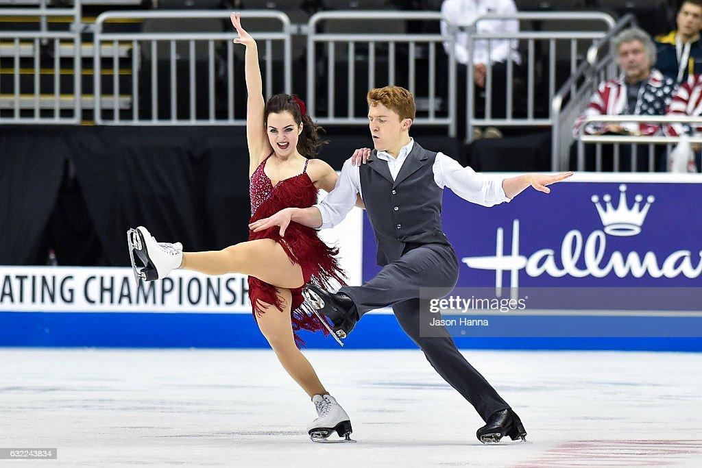 Karina Manta and Joseph Johnson skate through their short dance program on Day 2 at the 2017 US Figure Skating Championships on January 20, 2017 at the Sprint Center in Kansas City, Missouri.