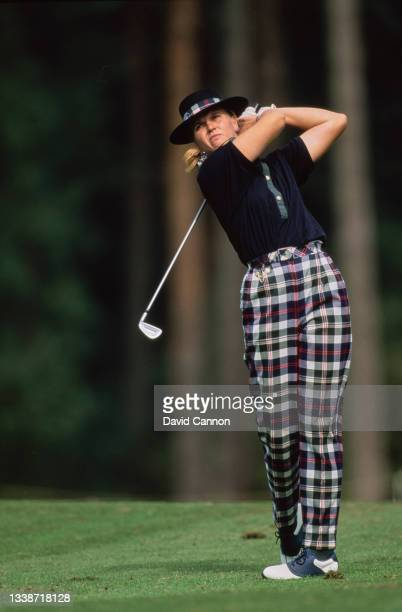 Karina Orum of Denmark plays an iron shot off the fairway during the Weetabix Women's British Open golf tournament on 12th August 1994 at the Woburn...