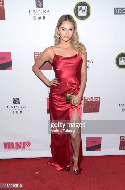 Karina Rae attends the 4th annual Roger Neal Oscar Viewing Dinner Icon Awards and after party at Hollywood Palladium on February 24 2019 in Los...