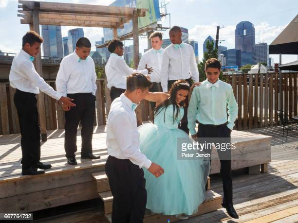 Karina Ramirez dressed for her Quinceañera on the decked area at 2616 Commerce Street in the Deep Ellum area of east Dallas Quinceañera is the...