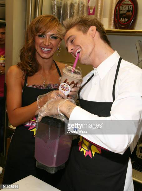Karina Smirnoff and Aaron Carter launch their Celebrity Signature Milkshakes at Millions of Milkshakes on September 23 2009 in Los Angeles California