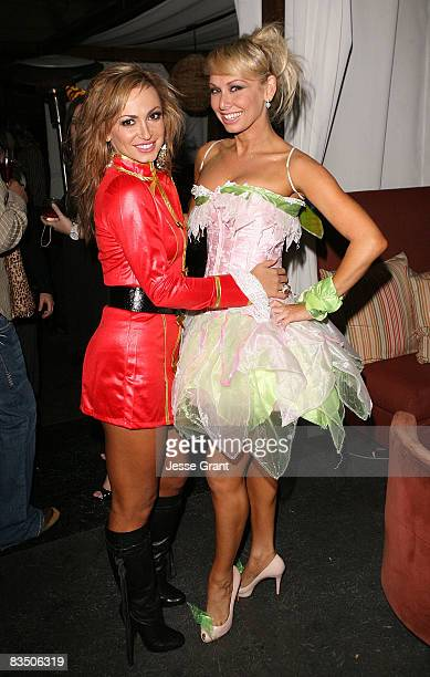 Karina Smirnoff and Kym Johnson attend Kim Kardashian's Halloween party hosted by PAMA at Stone Rose on October 30, 2008 in Los Angeles, California.