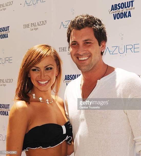 Karina Smirnoff and Maksim Chmerkovskiy attend AZURE Ultra Pool at The Venetian Hotel and Casino Resort on July 4 2009 in Las Vegas Nevada