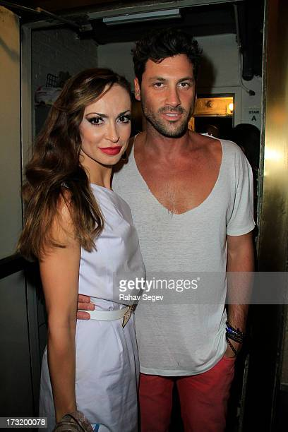 Karina Smirnoff and Maksim Chmerkovskiy attend 'Forever Tango' on Broadway at Walter Kerr Theatre on July 9 2013 in New York City