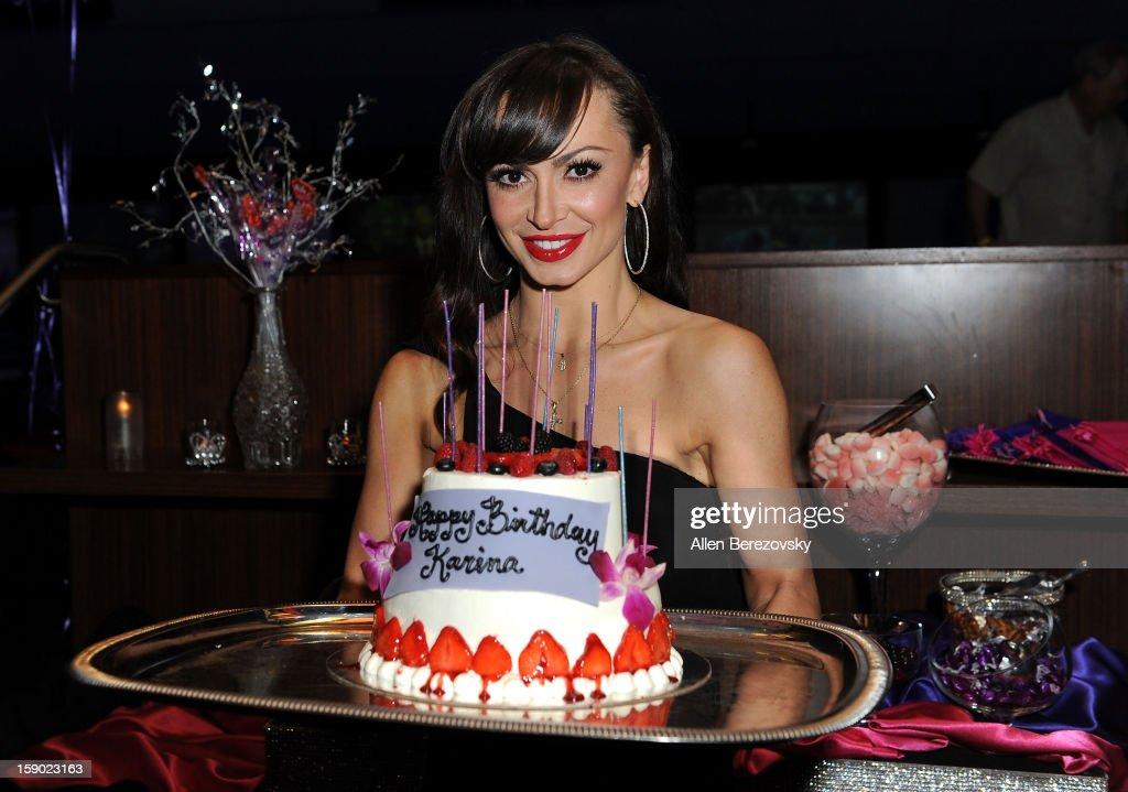 Karina Smirnoff Celebrates Her 35th Birthday With Bowling-Themed Celebration At Bowlmor Lanes Orange County : News Photo