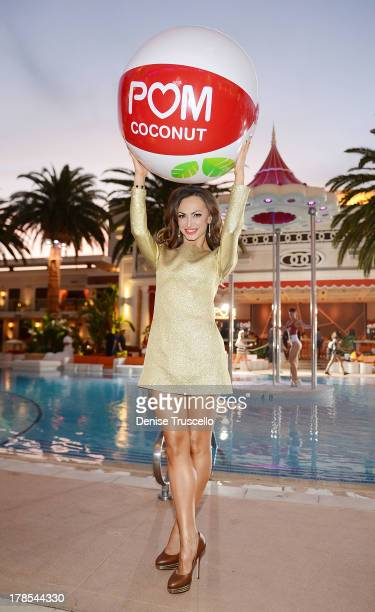 Karina Smirnoff celebrates POM Wonderful's launch of three new 100% Juice Blends by leading 125 people in setting the Guinness World Record for the...