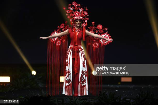 Karina Zhosan of Ukraine poses on stage during the 2018 Miss Universe national costume presentation in Chonburi province on December 10 2018