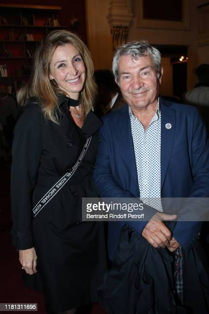 "Karine Belly and her husband Martin Lamotte attend the ""Palace"" Theater Play at Theatre de Paris on October 15, 2019 in Paris, France."