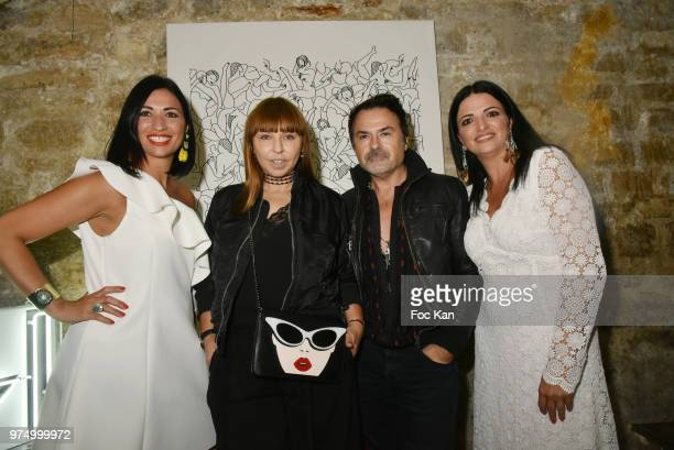 Karine Coccellato from Archiman On Aura Tout Vu PR Frederic Blanc russian journalist Olesya Okuneva and Stephanie Coccellato attend the Archiman Men...