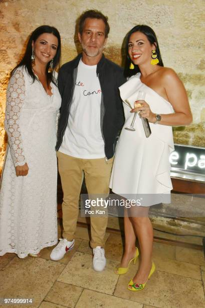 Karine Coccellato TV presenter Ronald Quintrange from BFM TV and Stephanie Coccellato attend the Archiman Men Body Care Launch Party at 22 Rue de...