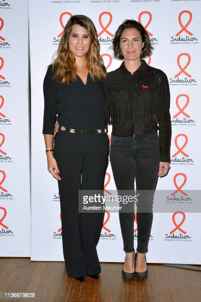 Karine Ferri and Alessandra Sublet attend the Sidaction 2019 photocall at Salle Wagram on March 18 2019 in Paris France