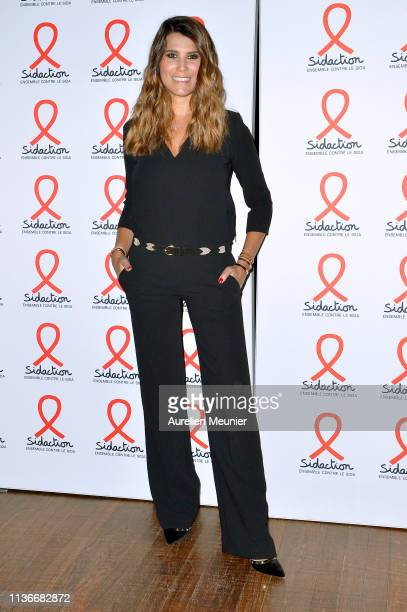 Karine Ferri attends the Sidaction 2019 photocall at Salle Wagram on March 18 2019 in Paris France