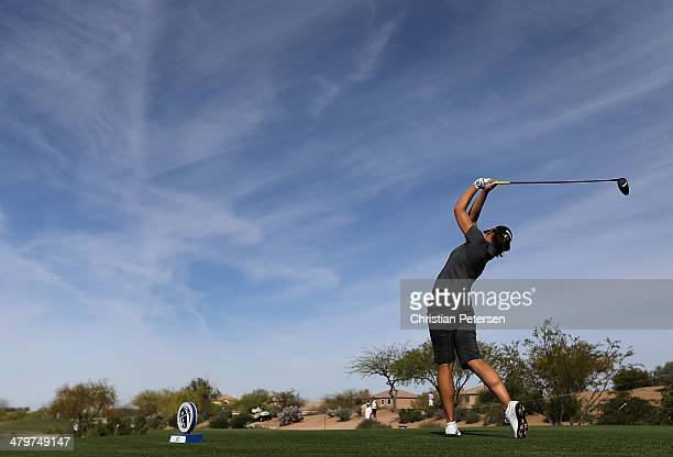 Karine Icher of France hits a tee shot on the 18th hole during the first round of the JTBC LPGA Founders Cup at Wildfire Golf Club on March 20 2014...