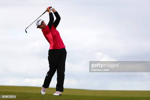 Karine Icher of France hits her second shot on the 4th hole during the third round of the Ricoh Women's British Open at Kingsbarns Golf Links on...