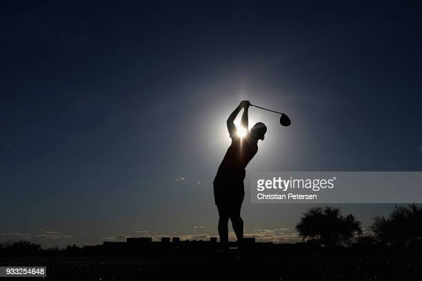 Karine Icher of France plays a tee shot on the 18th hole during the third round of the Bank Of Hope Founders Cup at Wildfire Golf Club on March 17...