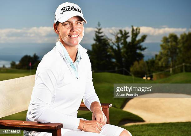 Karine Icher of France poses for a picture during practice prior to the start of the Evian Championship Golf on September 8 2015 in EvianlesBains...