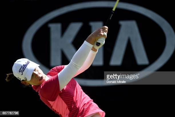 Karine Icher of France tees off during Round Three of the KIA Classic at the Park Hyatt Aviara Resort on March 25 2017 in Carlsbad California