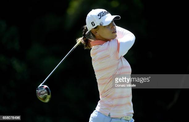 Karine Icher of France tees off the 2nd hole during the Final Round of the KIA Classic at the Park Hyatt Aviara Resort on March 26 2017 in Carlsbad...