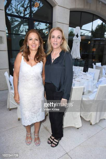 Karine Ohana and Susan Rockefeller attend Ohana Co LA Event Brands With Mission at The Peninsula Beverly Hills on August 23 2018 in Beverly Hills...