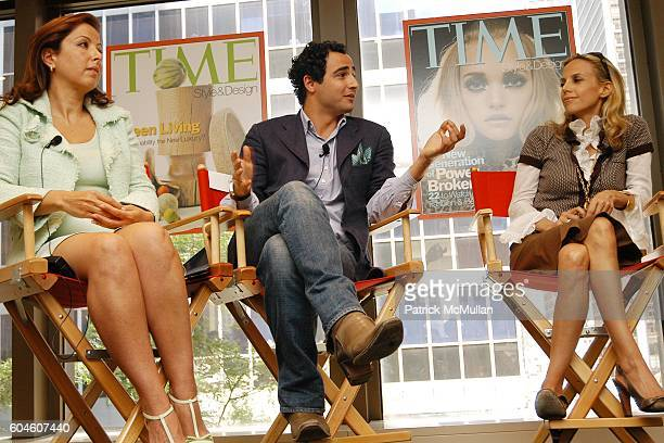 Karine Ohana Zac Posen and Tory Burch attend The Art of Design TIME Style Design Panel Discussion at Luce on June 13 2006 in New York City