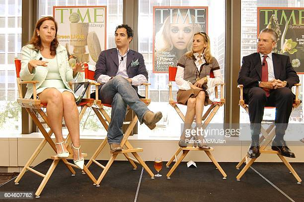 Karine Ohana Zac Posen Tory Burch and Michael Silverstein attend The Art of Design TIME Style Design Panel Discussion at Luce on June 13 2006 in New...