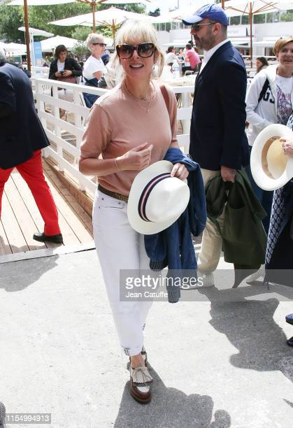 Karine Viard attends the men's final during day 15 of the 2019 French Open at Roland Garros stadium on June 9 2019 in Paris France