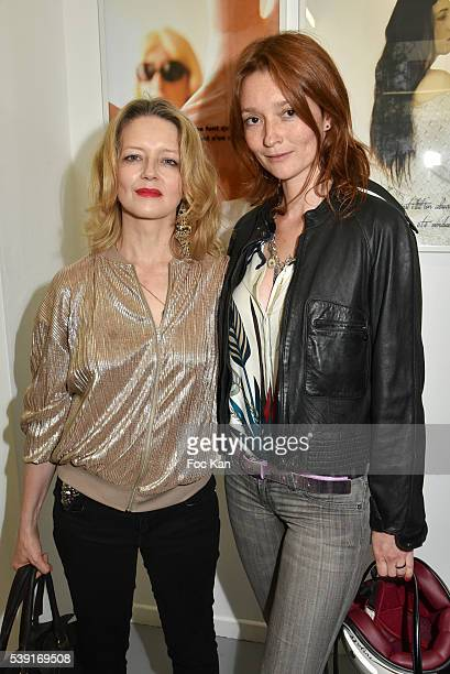 Karine Viard Stephane Foenkinos and Lea Seydoux attend '55 Politiques' Exhibition Preview at Galerie Dupin on June 9 2016 in Paris France