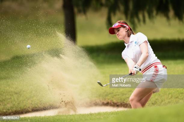 Karis Davidson of Australia hits out of the 9th green bunker during the final round of the Resorttust Ladies at Kansai Golf Club on May 27 2018 in...