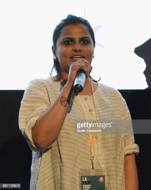 Karishma Dube speaks onstage at Shorts Program 1 during the 2017 Los Angeles Film Festival at Arclight Cinemas Culver City on June 17 2017 in Culver...